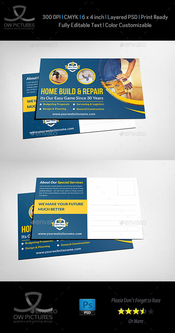 Construction postcard template by owpictures graphicriver construction postcard template cards invites print templates reheart Choice Image