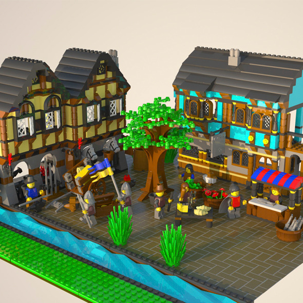 LEGO Medieval Market Village - 3DOcean Item for Sale
