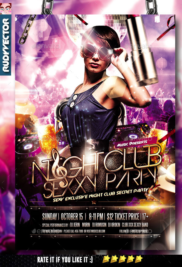 Night Club Party Flyer By Rudyvector  Graphicriver