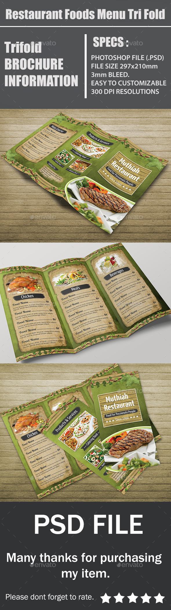 Restaurant Foods Menu Tri Fold