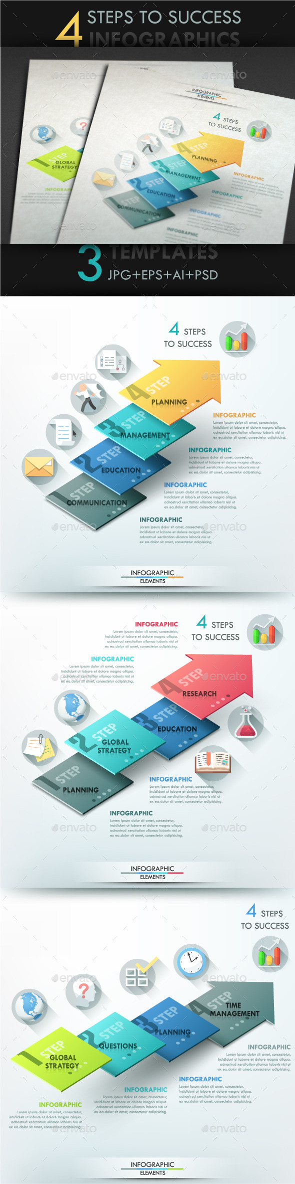 Modern Infographic Options Template (3 Items) - Infographics