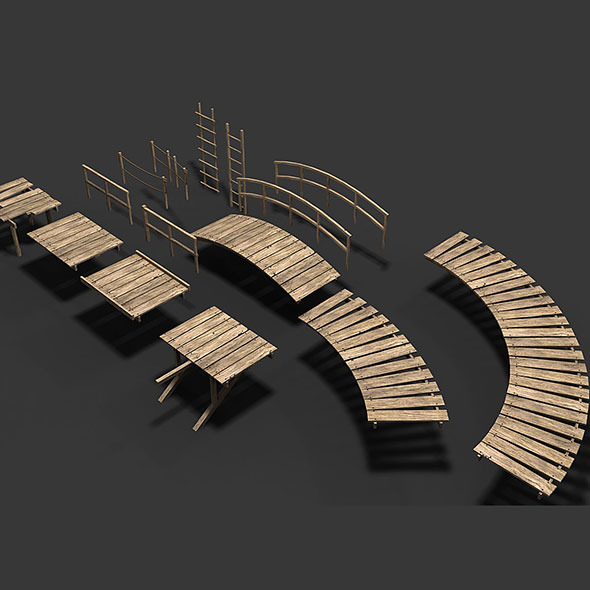 Modular Wood Walkway or Jetty Part 2 - 3DOcean Item for Sale