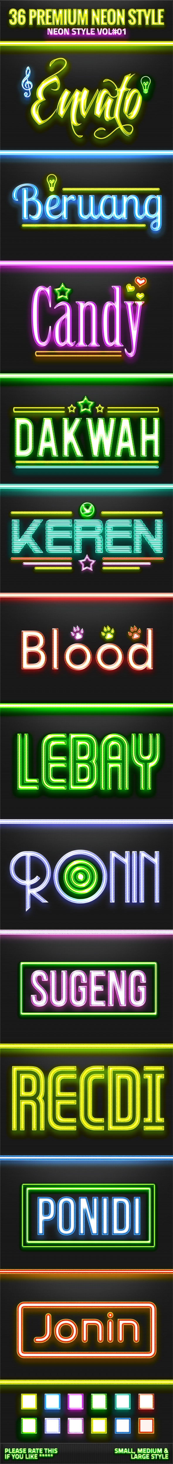 36 Neon Style V01 - Text Effects Styles
