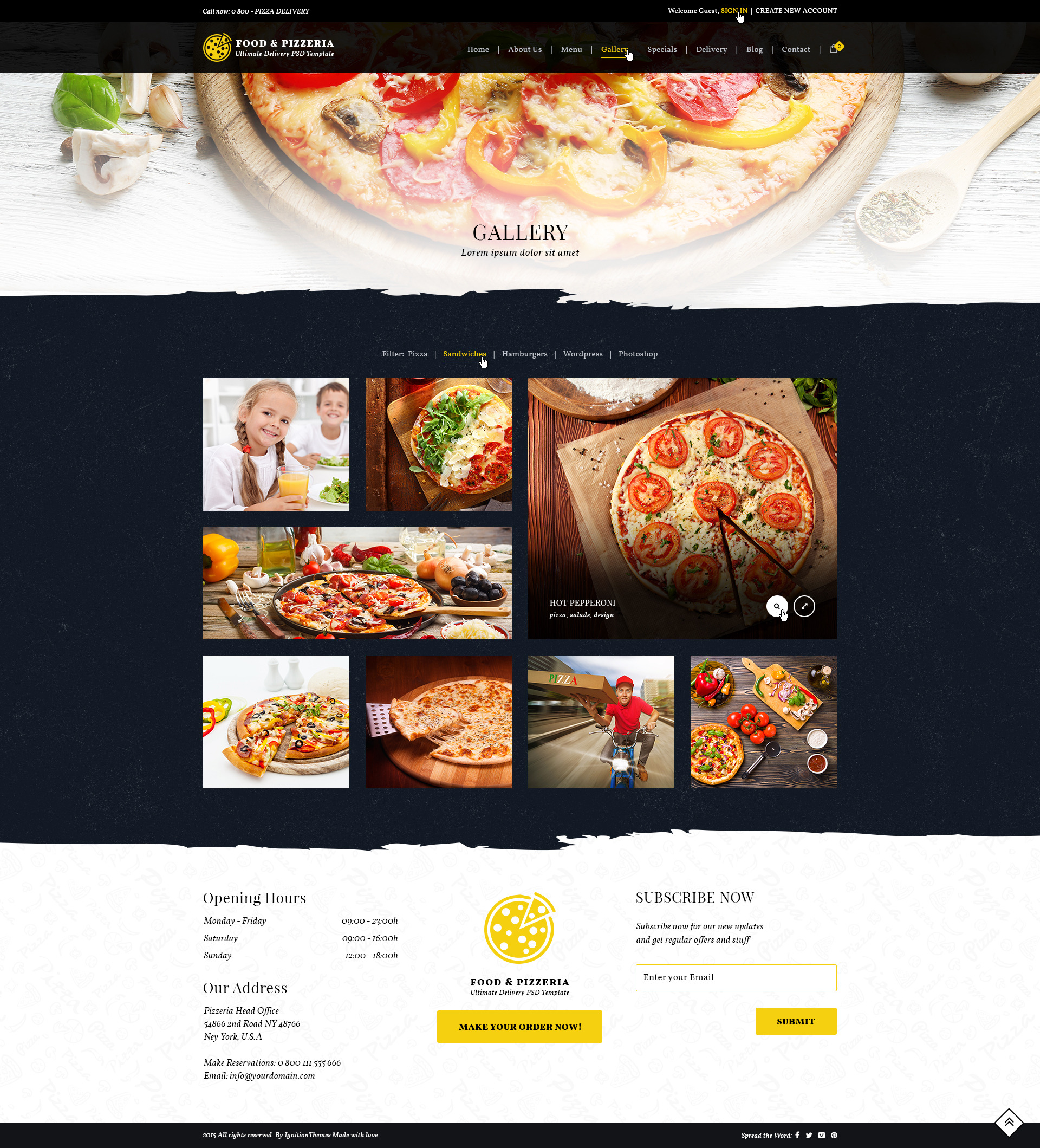 Food Pizzeria Ultimate Delivery PSD Template By IgnitionThemes - Delivery menu template