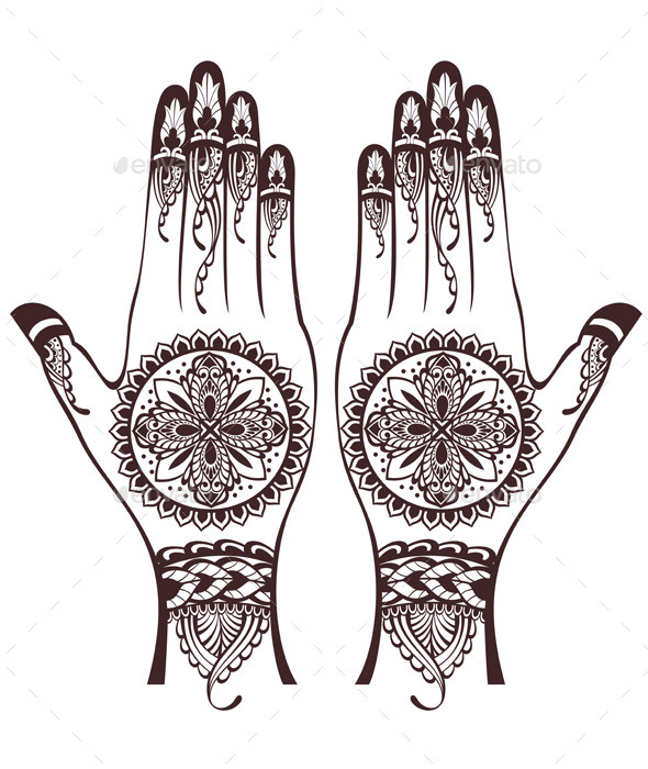 vector illustration of hands with henna tattoos by ksyxa graphicriver rh graphicriver net Henna Design Cards Henna Tattoo