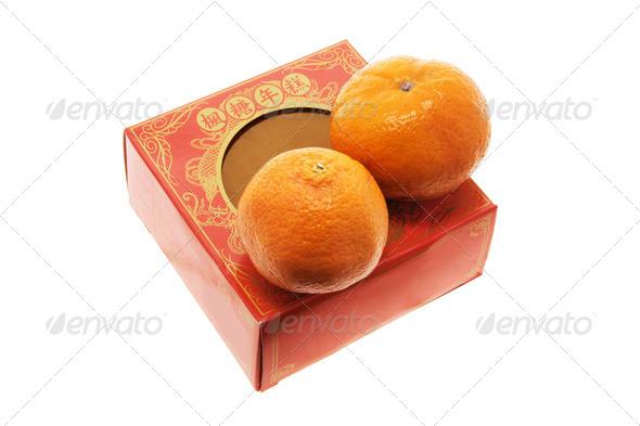Mandarins and Chinese New Cake - Stock Photo - Images