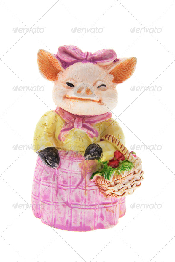 Pig Ornament with Basket - Stock Photo - Images