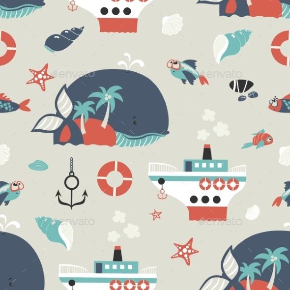 Seamless Vector Background with Sea Objects  - Patterns Decorative