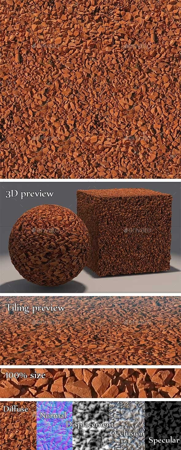 Gravel - Red Stones Seamless Texture  - 3DOcean Item for Sale