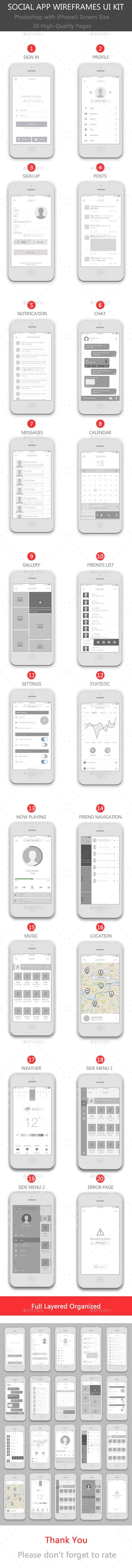 Social App Wireframes UI Kit - User Interfaces Web Elements