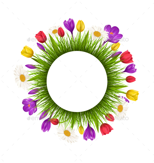 Circle Flowers Frame With Green Grass