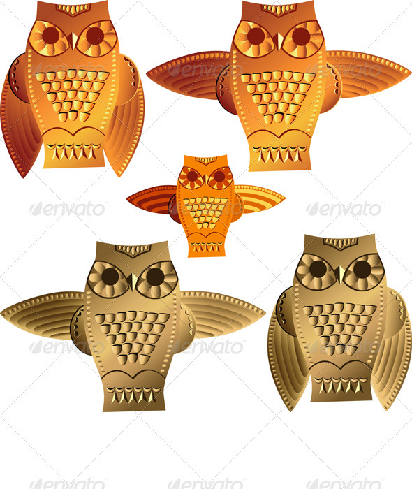 Vector Set Decorative Owls - Animals Characters