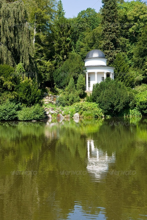 Temple in Kassel´s Bergpark Wilhelmshoehe - Stock Photo - Images