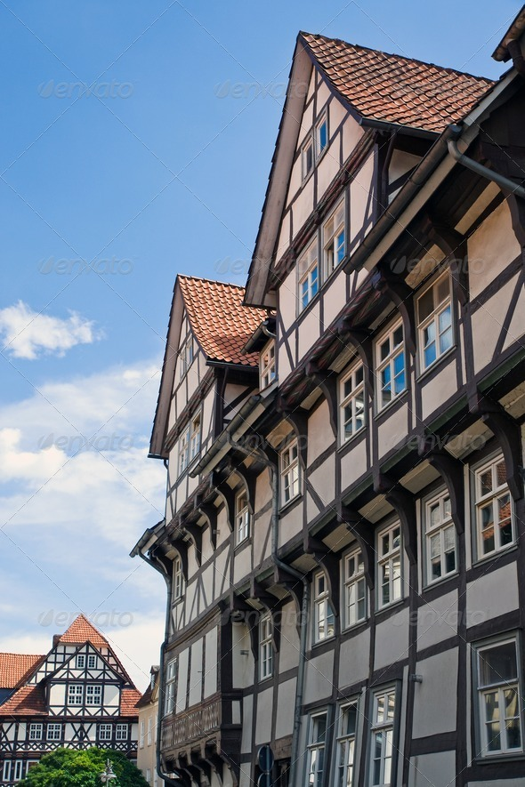 Beautiful half-timbered houses - Stock Photo - Images