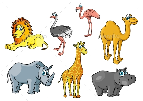 Cartoon African Wild Animals And Birds Characters By