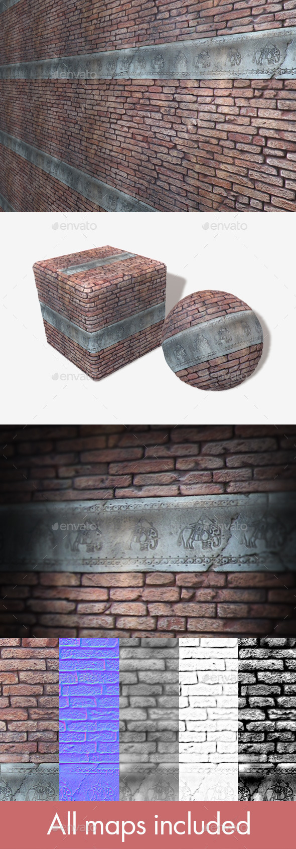 Carved Elephant Brick Wall Seamless Texture. - 3DOcean Item for Sale