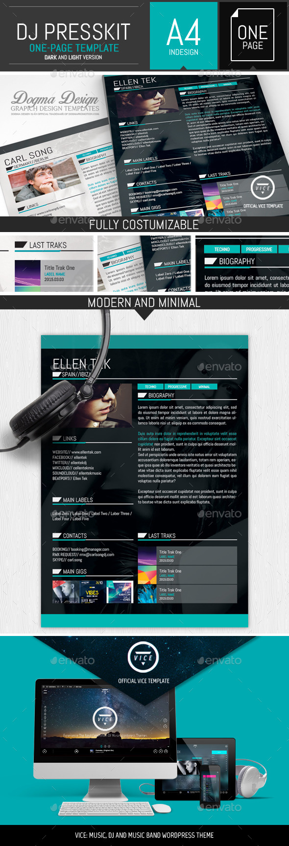 Vice: Dj / Musician OnePage Resume Indesign Template by DogmaDesign