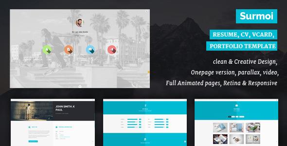 Surmoi - Resume, CV, vCard, Portfolio Template - Personal Site Templates