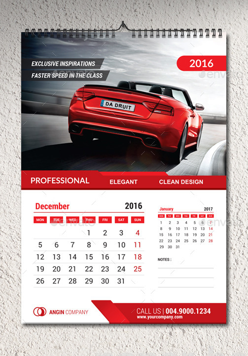 2016 Wall Calendar Template By Percetakan Graphicriver