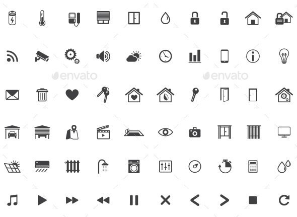 home automation smart home icon set vector by dilyanah. Black Bedroom Furniture Sets. Home Design Ideas