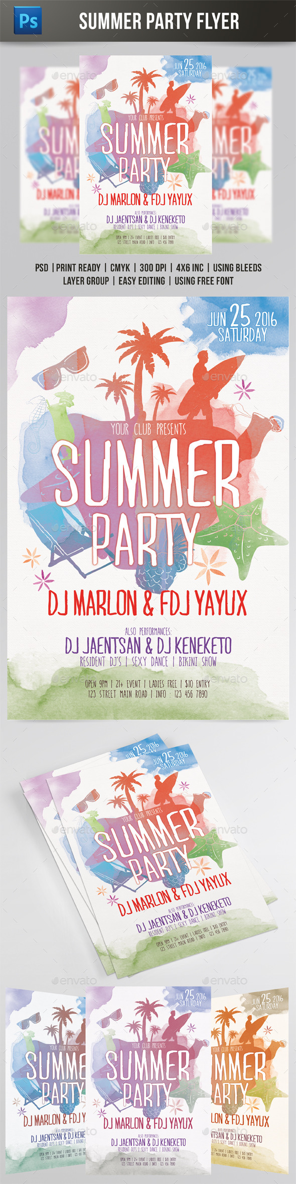 Summer Party Watercolor Style Flyer - Events Flyers