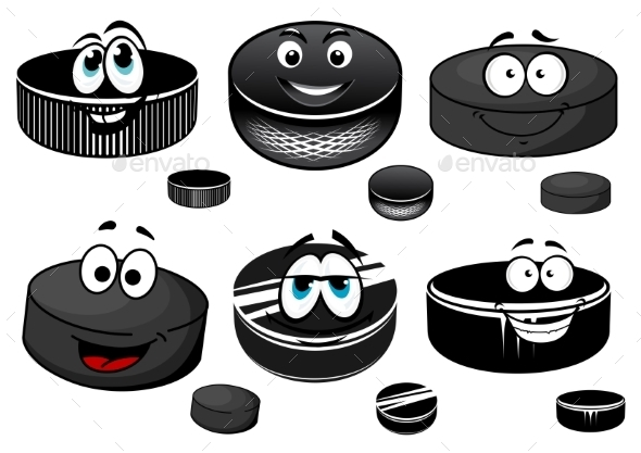Cartoon Black Ice Hockey Pucks Characters - Sports/Activity Conceptual