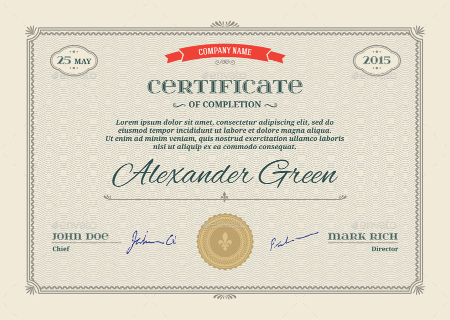 certificate template psd amp eps print ready by graphic