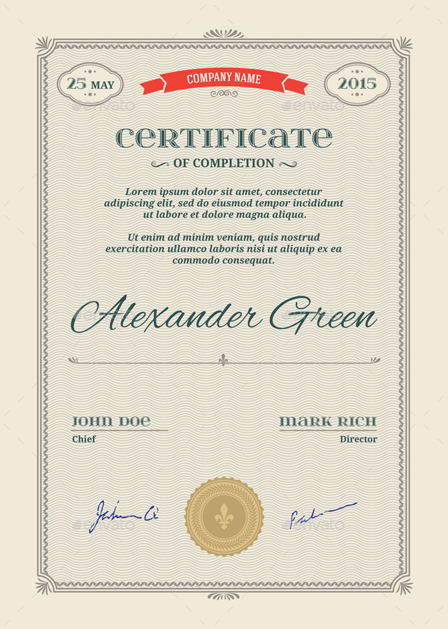 Certificate Template Psd  Eps Print Ready By Musiclove  Graphicriver