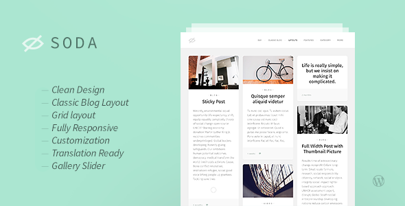 Soda — Clean Responsive Blog WordPress Theme - Personal Blog / Magazine