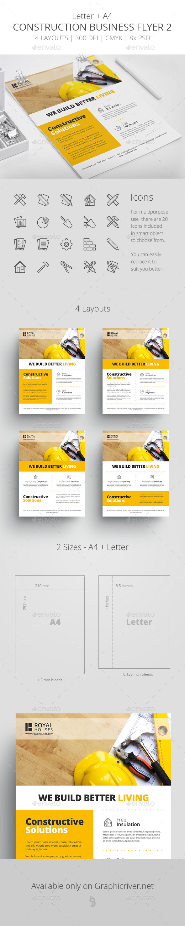 Construction Business Flyer 2 - Letter + A4 - Corporate Flyers