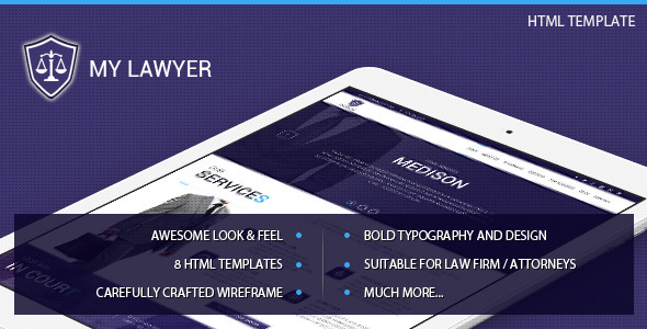 MyLawyer – Lawyer Attorney HTML Template