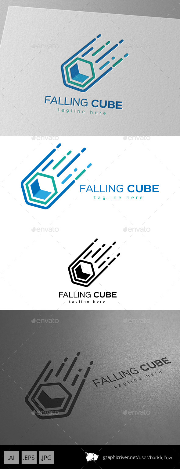 Falling Cube Logo Design by barkfellow | GraphicRiver