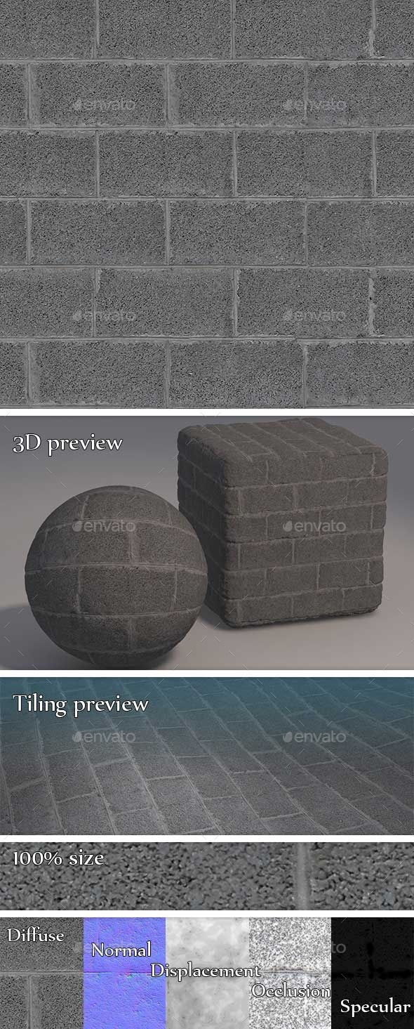 Concrete Blocks Wall Seamless Texture - 3DOcean Item for Sale