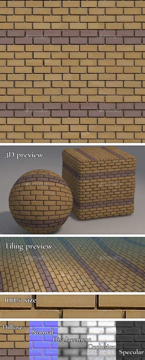 Yellow and Purple Brick Wall Seamless Texture - 3DOcean Item for Sale