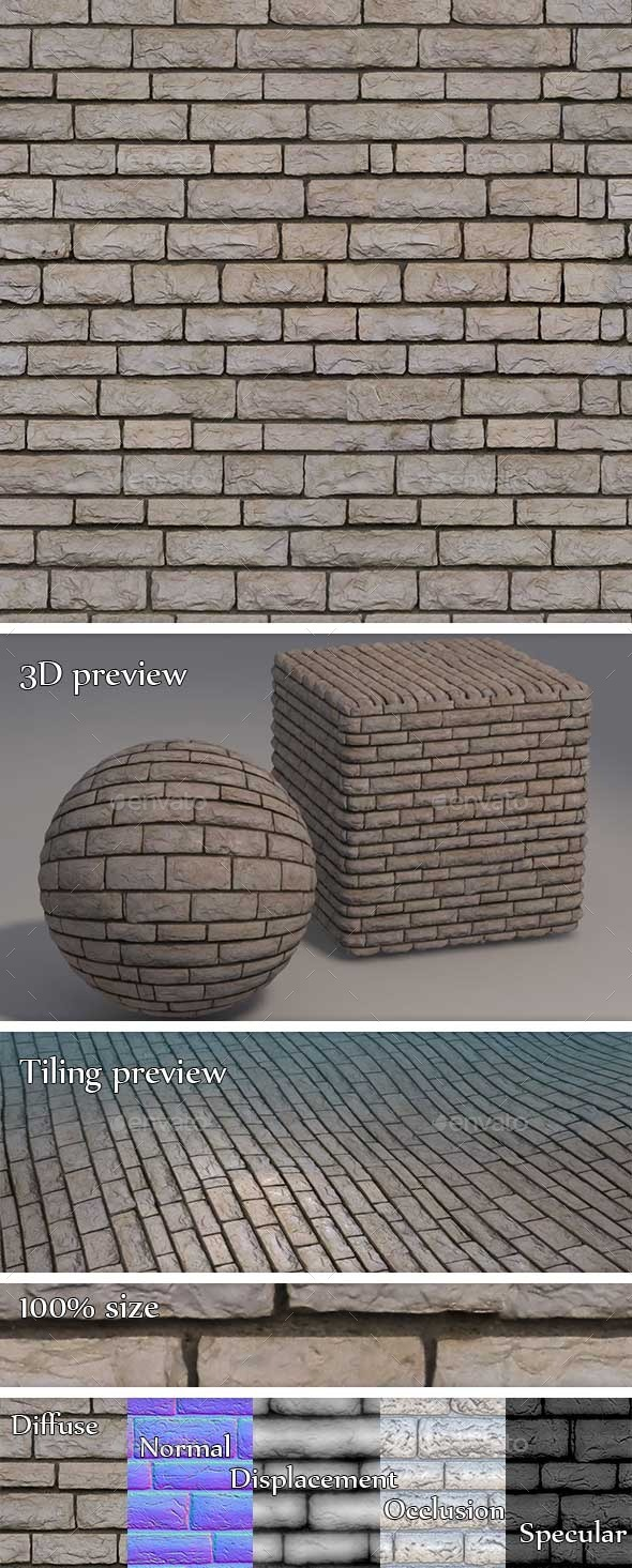 White Cobblestone Brick WallSeamless Texture - 3DOcean Item for Sale