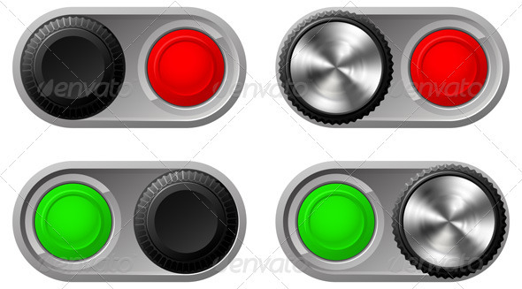 Toggle switches with green and red lights - Objects Vectors
