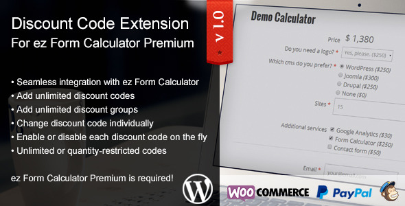 ez Form Calculator - Discount Codes Extension - CodeCanyon Item for Sale