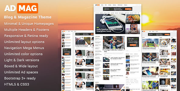 ADMAG - Responsive Blog & Magazine HTML Template - Creative Site Templates