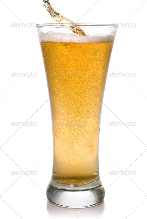 Beer pouring into glass isolated on white - Stock Photo - Images