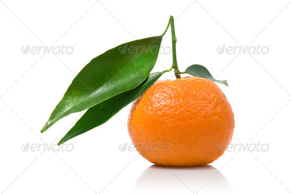 Tangerine with green leaves isolated on white - Stock Photo - Images