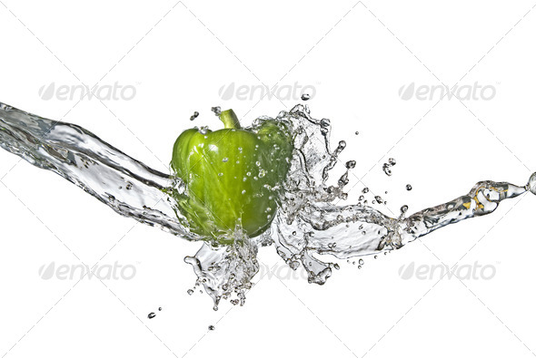 fresh water splash on green sweet pepper isolated on white - Stock Photo - Images