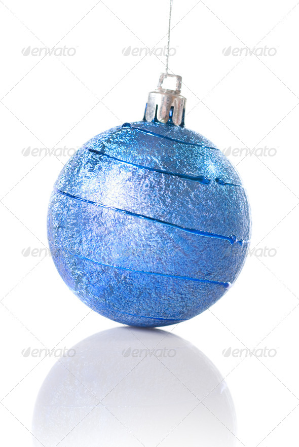 blue christmas ball isolated on white - Stock Photo - Images