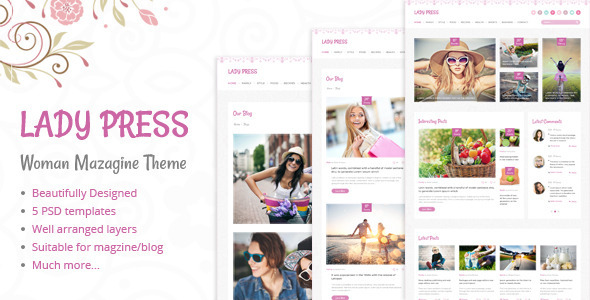 LadyPress - Woman Magazine Blog PSD Template - Creative PSD Templates