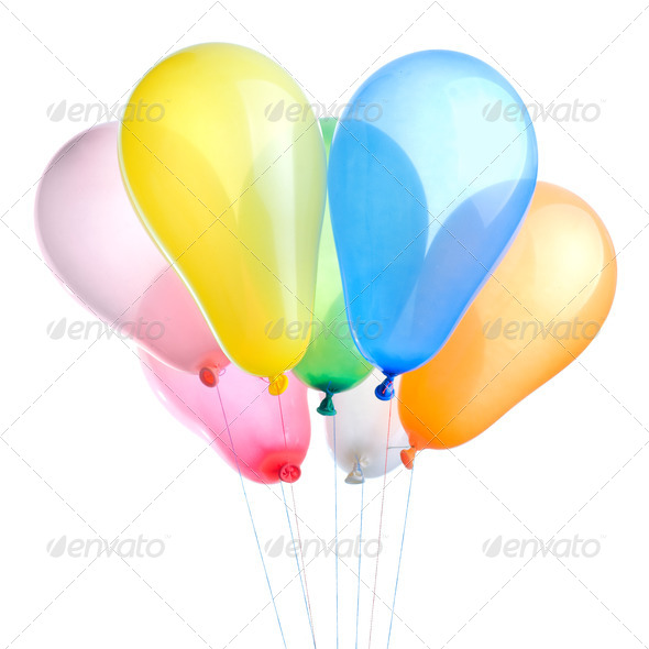color balloons isolated on white - Stock Photo - Images