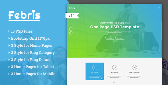 Febris - Porfolio, Corporate One Page PSD Template