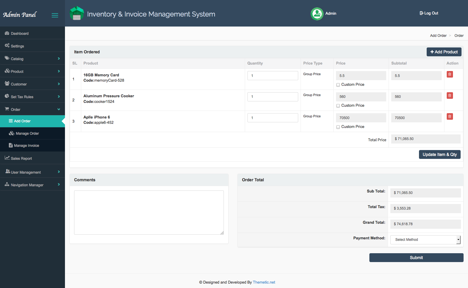 Inventory And Invoice Management System IIMSV By FratelloneIT - Invoice software with stock control