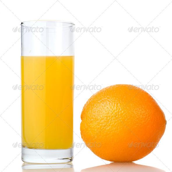 orange juice and orange isolated on white - Stock Photo - Images