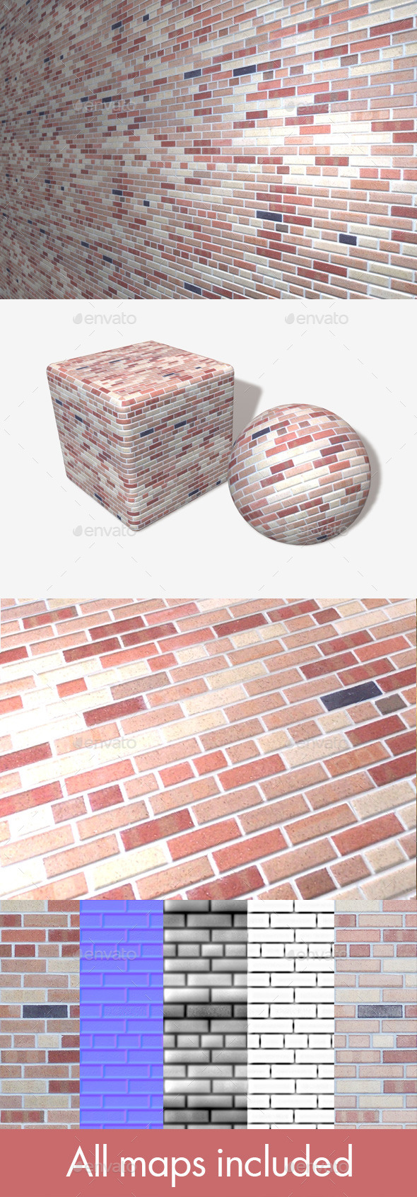 Neat Multicolour Bricks Seamless Texture - 3DOcean Item for Sale