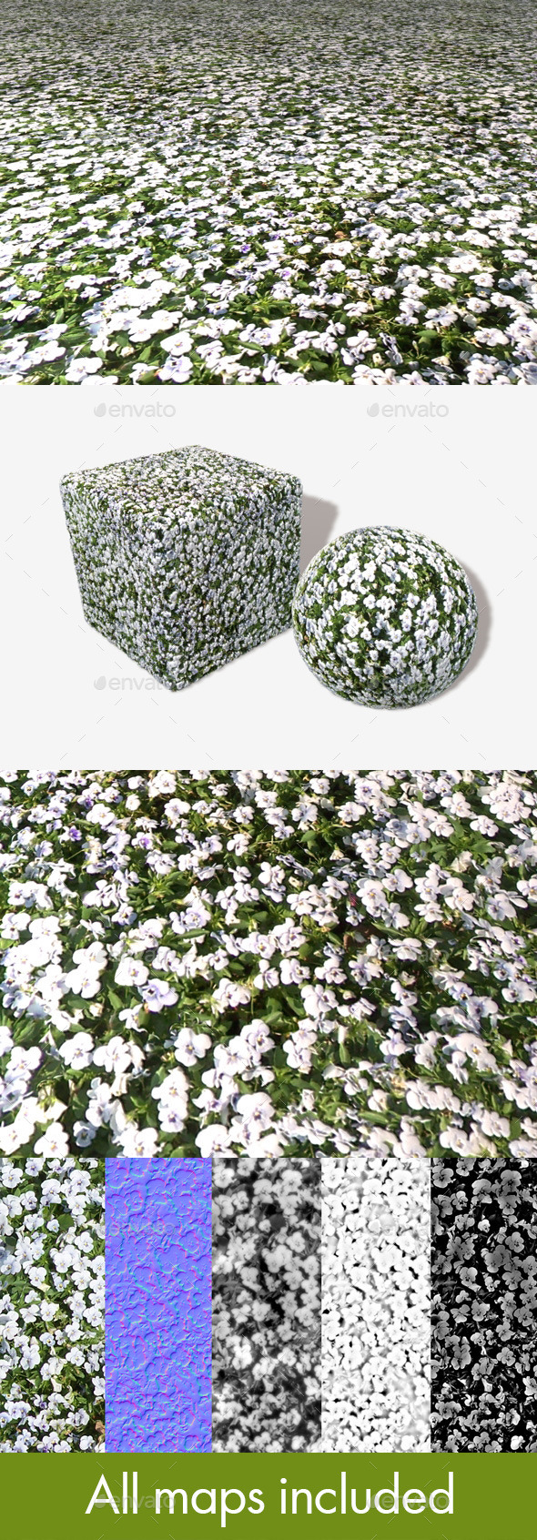 White Flowerbed Seamless Texture - 3DOcean Item for Sale