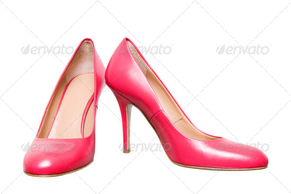 pink leather female shoes isolated on white - Stock Photo - Images